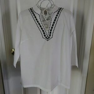 White tunic with black detailing